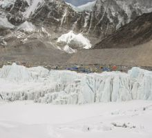 Looking back towards basecamp from about 1/3 of the way up the icefall (the tiny coloured dots are the tents)