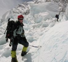 Fiona in the icefall on Everest (note the block of ice above)