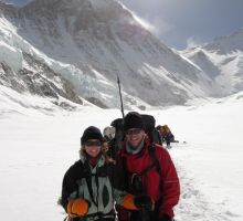 Fiona and Paul between camps 1 and 2 on Everest