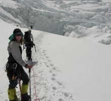 Fiona getting close to the base of the Lhotse face