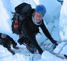 Paul on a vertical ladder above camp 1 on Everest