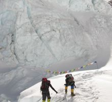 Fiona on another ladder in the Everest icefall