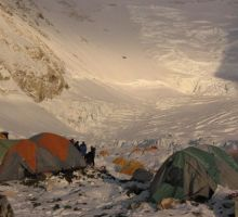 Camp 2 at dusk looking up towards the Lhotse Face