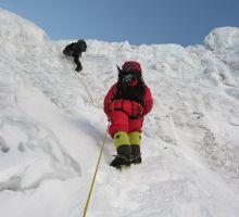 Mingma and Fiona climbing up the Lhotse face