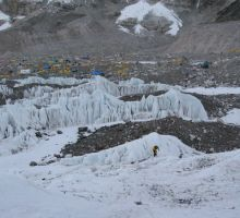 Looking back towards basecamp from the lower part of the icefall