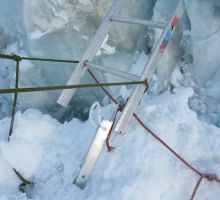 By now the icefall is melting and this ladder stands on only one leg