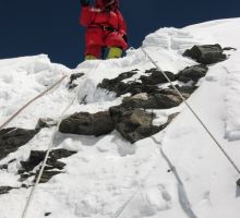 Fiona on top of the Geneva Spur while climbing Mt Everest - only a short distance to camp 4 from here