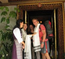 Paul and Fiona leaving our hotel in Kathmandu - we were presented with another kata each