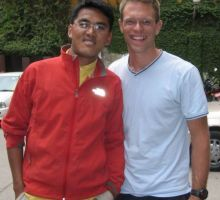 Paul meeting Lakpa - his Sherpa for climbing Everest this year