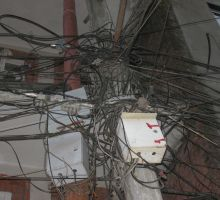 Slightly alarmed at the electrical wiring here in Kathmandu