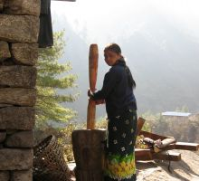 A local Nepalese woman crushing seeds for flour