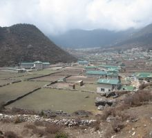 Looking down on a sherpa village