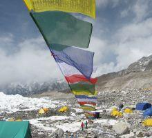 Prayer flags flying over Everest basecamp
