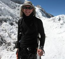 Paul climbing Everest near camp 2
