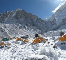 Camp 2 on Everest after a snowfall