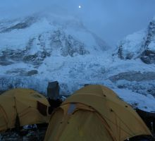 The moon shining over Everest basecamp