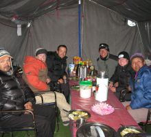 Rugged up for dinner at Everest basecamp