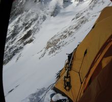 The view out of Paul's tent at Camp 3. The route goes up here.