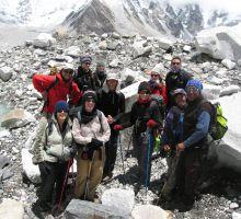 The girls +1 trekking group meets up with Paul near Gorek Shep
