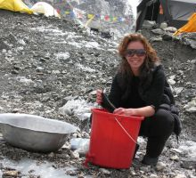 Fiona washing clothes at Everest basecamp