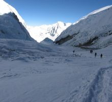 The route up from Camp 1 to Camp 2 on Everest
