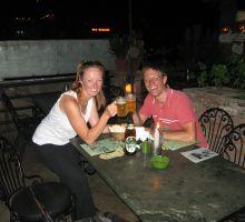 Fiona and Paul celebrating a dream come true in Rumdoodle, Kathmandu