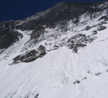 Looking up towards the Everest taken near camp 2