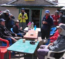 Paul and his trekking group having a break on the hike to Everest basecamp