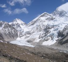 Everest as seen from Kala Patar (the mountain at the back which appears to have smoke coming off it)