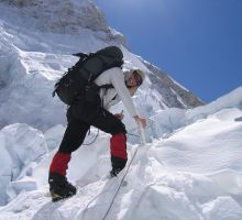 Paul heading up through the icefall on Everest