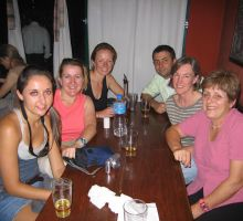 Julia, Denise, Fiona, Cas, Liz and Marg enjoying drinks in Kathmandu before heading into the mountains