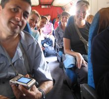 Cas, Denise, Julia, Marg and Beck on board the plane heading into Lukla. The adventure begins.