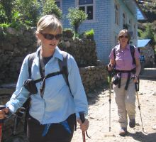 Beck and Liz near the start of the trek into basecamp