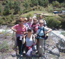 Fiona and the trekking group on one of the bridges