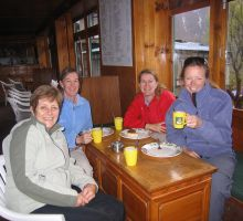 Marg, Liz, Denise and Fiona enjoying a hot drink in one of the teahouses en route to Everest Basecamp