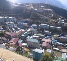 Looking down on the town of Namche Baazar