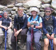Denise, Beck, Marg & Julia taking a break on the trek into Everest basecamp