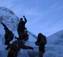 Paul and the other climbers heading off into the icefall in the early morning