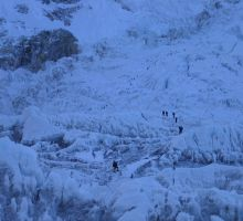 The icefall from a basecamp - you can see the climbers heading up
