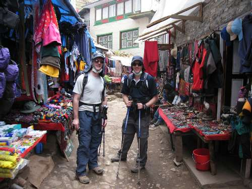 Tim & Dame exploring the streets of Namche. Photo Paul Adler