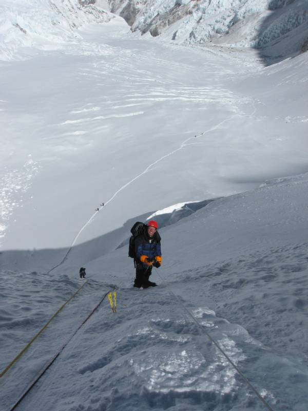 Paul Adler climbing up the Lhotse Face this morning. Click to enlarge. Meagan is below me. You can see camp 2 on the right hand side of the picture. Photo Mingma Nuru