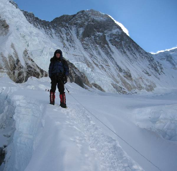 Paul near a crevasse this morning above c1. Everest and the South Col can be seen in the background. Photo Attila Jelenko.